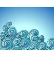 Curly waves on blue vector image