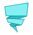 Blue origami speech bubble icon cartoon style vector image