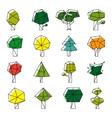 Line art polygonal trees icons vector image