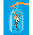 man under protective dome vector image