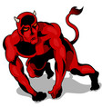 muscular red devil vector image