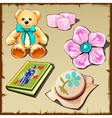 Set of toys and hobby items for girls five images vector image