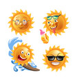 sun with adorable funny faces isolated vector image