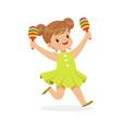 sweet little girl playing maracas young musician vector image