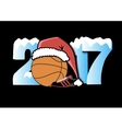 New Year numbers 2017 and basketball vector image