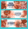 seafood product sketch banner set for food design vector image vector image