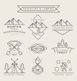 Camping Label and Badge Linear Style vector image