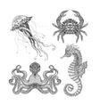 Sea marine doodle set vector image