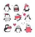 Cute hand drawn penguins set - greetings cards vector image