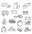 Finance business and money icons sketches vector image vector image