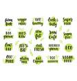 bio eco organic logos set vector image
