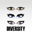 Eyes of women showing diversity vector image