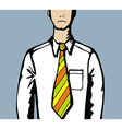 Sad business man with creative tie vector image