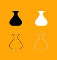 vase black and white set icon vector image