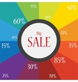 word sale on a festive and colorful background vector image