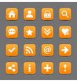 Orange satin icon web button with white basic sign vector image