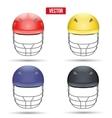 Set of Cricket Helmets Front View vector image