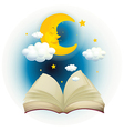 An empty open book with a sleeping moon vector image