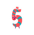 cute animallike character number five 5 vector image