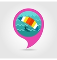 Kite boarding surfing pin map icon Vacation vector image