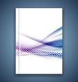 Blue swoosh wave satin line brochure template vector image