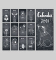 calendar 2018 cute monthly calendar calendar vector image