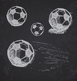 Football soccer ball sketch set on blackboard vector image