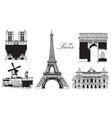 set of landmarks of paris vector image