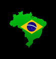 the detailed map of the brazil with flag vector image