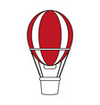 color silhouette image red striped hot air balloon vector image