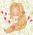 Cute girl on floral background vector image