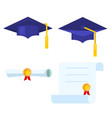 graduation cap and diploma scroll icon vector image