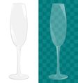 Transparent isolated sparkling wine glass vector image