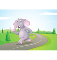 An elephant running at the road vector image