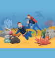 scuba divers greeting while vector image vector image