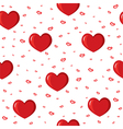seamless with red hearts vector image