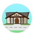bank building road flat syle background concept vector image