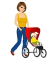 beautiful single mather pushing stroller vector image