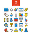 bright hanukkah line icons set vector image