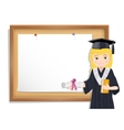 Graduate girl and cork board with paper vector image