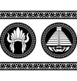 Mayan pyramid and headdress vector image
