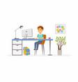 online education - of school boy vector image