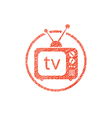 Retro tv set icon with hand drawn lines texture vector image