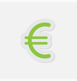 simple green icon - euro currency symbol vector image