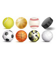 sport balls set of soccer basketball vector image
