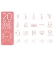 thin line music set icons concept design vector image