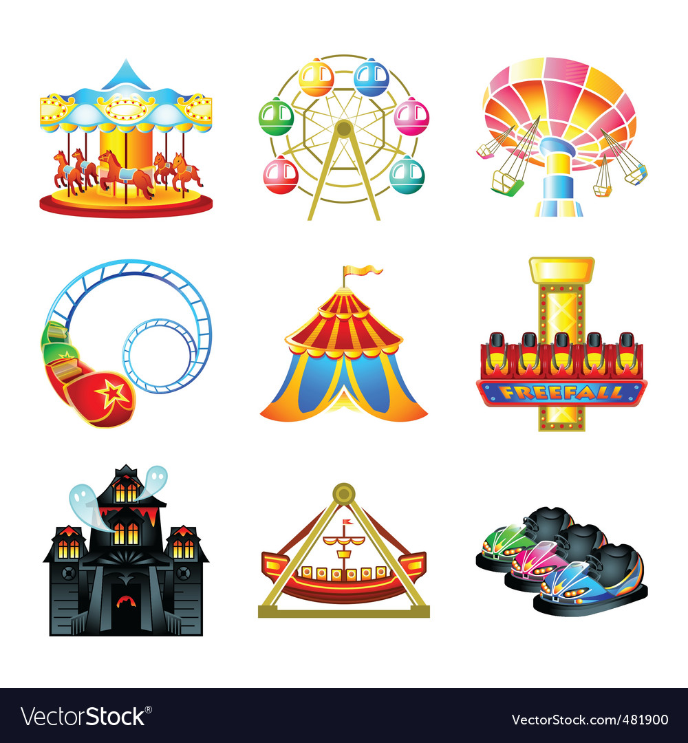 Attraction icons vector