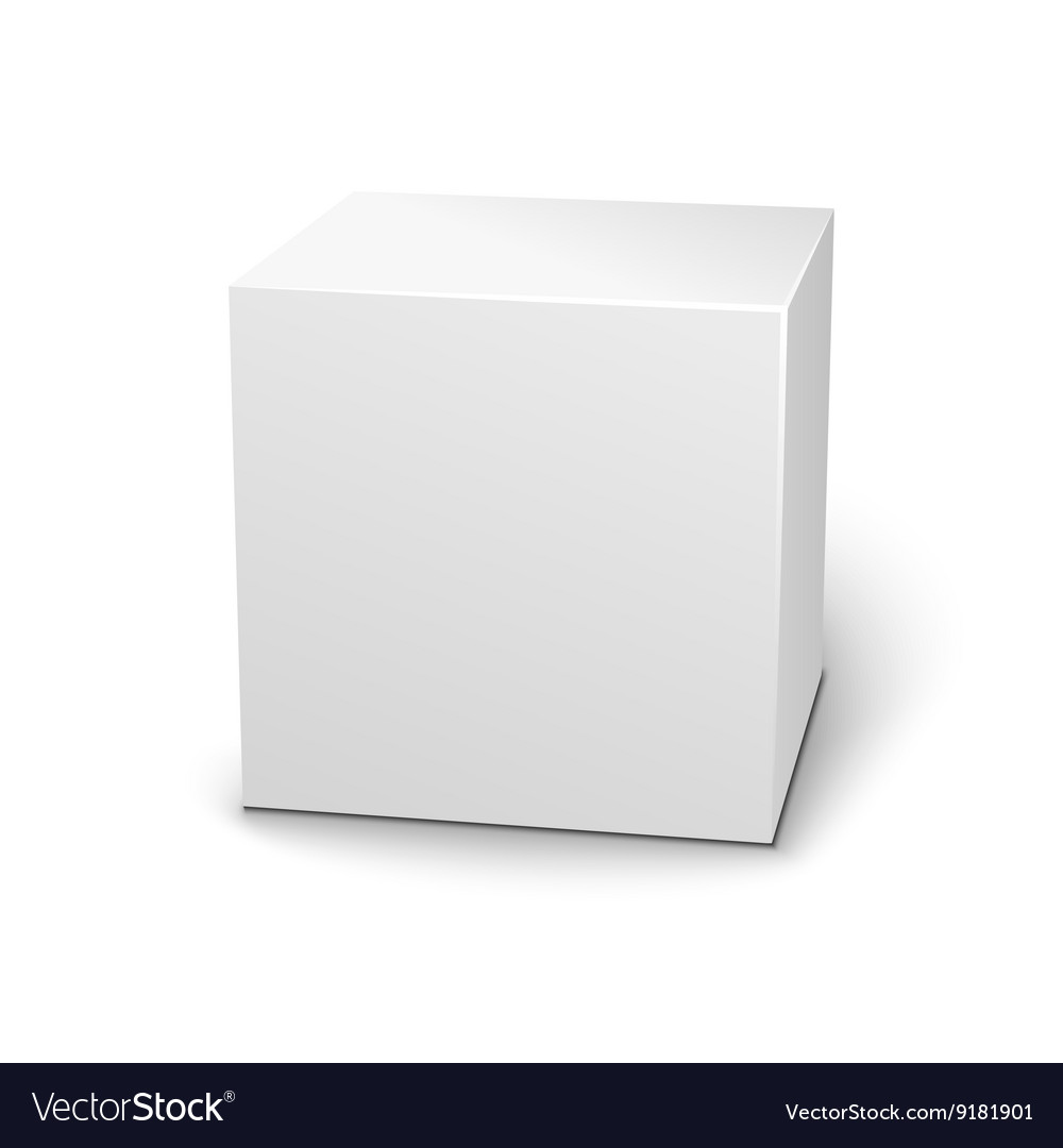 Blank 3d box on white background with shadow vector