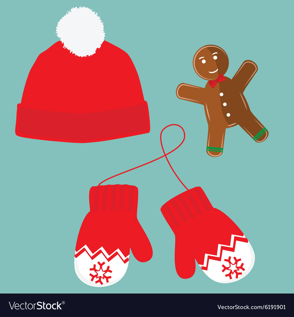 Hat mittens and cookie vector