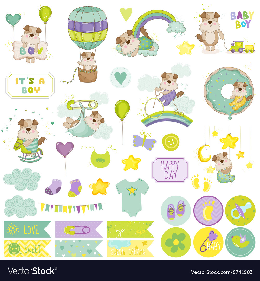 Baby boy dog scrapbook set baby tags baby labels vector